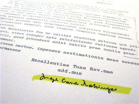 The signature from then-Cardinal Joseph Ratzinger on a letter commenting on the defrocking petition for Father Stephen Kiesle, dated November 6, 1985, is shown after its release to Reuters April 9, 2010. REUTERS/Sam Mircovich