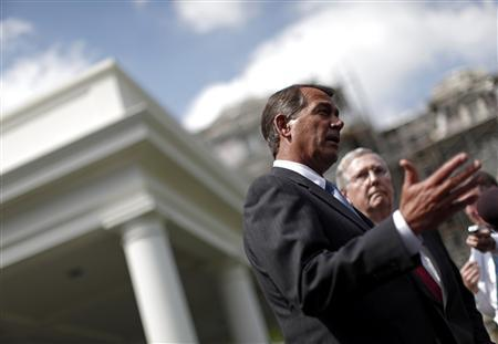 House Minority leader John Boehner (R-OH) (L) and Senate Minority leader Mitch McConnell (R-KY) comment on their meeting with President Obama and the bipartisan Congressional leadership about the financial reform, at the White House, April 14, 2010. REUTERS/Jim Young