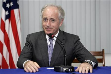 Senator Bob Corker speaks during a news conference after a meeting with Nicaragua's vice-president Jaime Morales Carazo in Managua February 22, 2010. REUTERS/Oswaldo Rivas