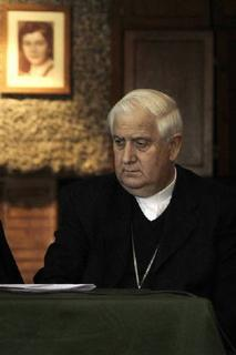 President of the Episcopal Conference in Chile, Monsignor Alejandro Goic is seen during a news conference at Santiago in this April 12, 2010 file photograph. REUTERS/Ivan Alvarado/Files