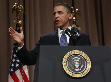U.S. President Barack Obama delivers remarks on Wall Street reform at Cooper Union in New York City, April 22, 2010. REUTERS/Jim Young