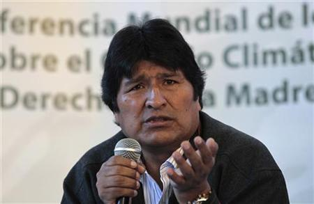 Bolivia's President Evo Morales speaks during a news conference at the World People's Conference on Climate Change and the Rights of Mother Earth in Tiquipaya on the outskirts of Cochabamba April 21, 2010. REUTERS/David Mercado