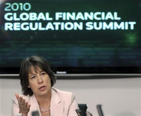 Federal Deposit Insurance Corportation (FDIC) Chairman Sheila Bair speaks at the Reuters Global Financial Regulation Summit in Washington April 27, 2010. REUTERS/Larry Downing