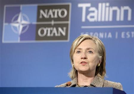 Secretary of State Hillary Clinton speaks at a news conference during the informal NATO Foreign Ministers meeting in Tallinn April 23, 2010. REUTERS/Ints Kalnins