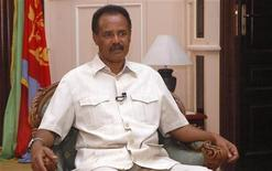 <p>Eritrea's President Isaias Afwerki listens to a question during an interview with Reuters in the capital Asmara May 20, 2009. REUTERS/Presidential Press Service/Handout</p>
