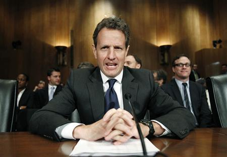 "U.S. Treasury Secretary Timothy Geithner testifies before the Senate Finance Committee on ""The President's Proposed Fee on Financial Institutions Regarding TARP (Troubled Asset Relief Program) Part 2."" on Capitol Hill in Washington May 4, 2010. REUTERS/Kevin Lamarque"