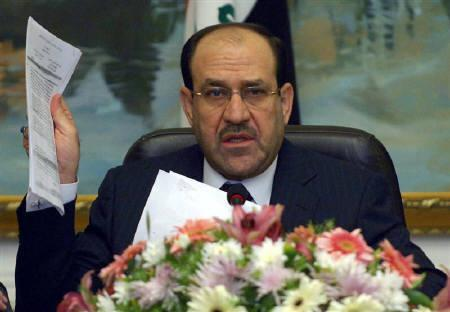 Nuri al-Maliki attends a meeting with heads of diplomatic missions working in Baghdad September 3, 2009. An alliance between Iraq's two main Shi'ite political coalitions to form next government is far from concluded, with potentially divisive issues such as the nomination of a prime minister still unresolved. REUTERS/Iraqi Government/Handout/Files