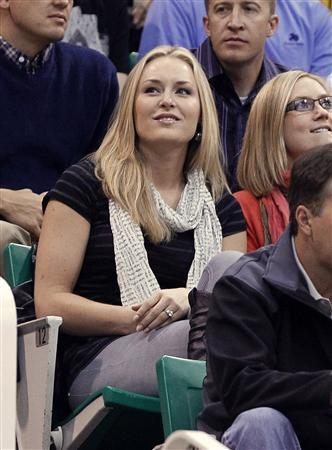 Olympic gold medalist and World Cup skiing champion Lindsay Vonn sits in the crowd watching the Los Angeles Lakers play the Utah Jazz during Game 4 of their NBA Western Conference semi-final playoff series in Salt Lake City, Utah, May 10, 2010. REUTERS/Lucy Nicholson