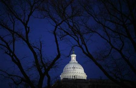 The Capitol building is seen before the start of President Barack Obama's primetime address to a joint session of the Senate and House of Representatives on Capitol Hill in Washington February 24, 2009. REUTERS/Jim Young