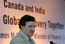 <p>Canadian Finance Minister Jim Flaherty speaks during a business meeting organised by the Confederation of Indian Industry (CII) in Mumbai in this May 18, 2010 file photo. Flaherty is on a three-day visit to India. REUTERS/Arko Datta</p>