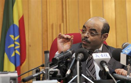 Ethiopia's Prime Minister Meles Zenawi addresses a news conference at his office in the capital Addis Ababa, May 26, 2010. REUTERS/Thomas Mukoya