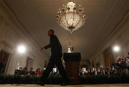 President Obama departs the East Room of the White House following his news conference, May 27, 2010. REUTERS/Kevin Lamarque