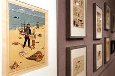 <p>Un dibujo original del dibujante belga Hergé de los cómics de Tintin en una muestra en París, mayo 28 2010. Una subasta en París de peculiares recuerdos sobre la serie belga de caricaturas Tintin logró más de 1 millón de euros (1,23 millones de dólares), dijeron el lunes sus organizadores. REUTERS/Jacky Naegelen</p>