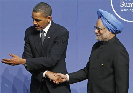 U.S. President Barack Obama (L) welcomes Prime Minister Manmohan Singh to the Nuclear Security Summit in Washington, April 12, 2010. The U.S. and India this week launch their first ''strategic dialogue'' as teams of officials work to flesh out a relationship that thus far has been stronger on symbolism than on substance. REUTERS/Jim Young/Files