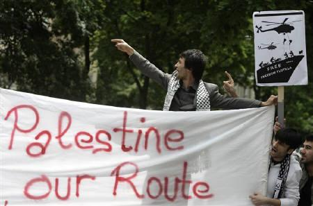 Protesters shout during a demonstration against the interception of Gaza-bound ships outside the Israeli embassy in Vienna June 1, 2010. REUTERS/Heinz-Peter Bader