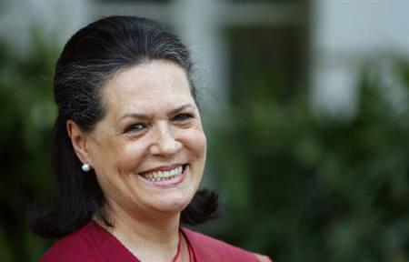 Congress Party chief Sonia Gandhi smiles as she addresses the media in New Delhi in this May 16, 2009 file photo. Authorities have tried to crack down on portrayals of Gandhi in movies, books and cartoons, triggering criticism the world's largest democracy is too reverent towards its most powerful politician. REUTERS/Adnan Abidi/Files