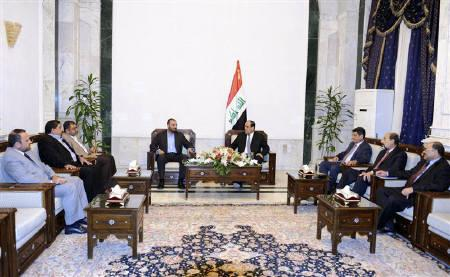 Iraq's Prime Minister Nuri Al-Maliki (centre R) meets with a delegation of the Sadr movement at his office in Baghdad May 24, 2010.  REUTERS/Iraqi Government/Handout