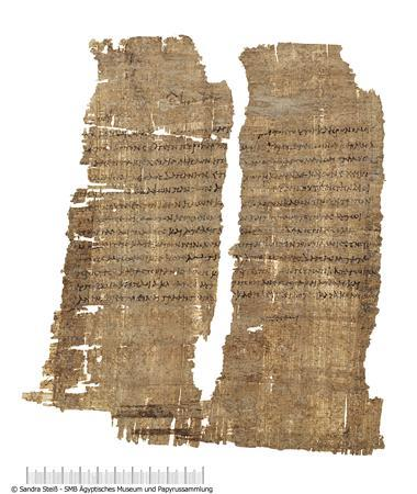 A papyrus document signed by Cleopatra granting tax exemption from sales of imported wine to the Roman businessman Publius Canidius, a friend of Mark Antony, in an image courtesy of the Agyptisches Museum und Papyrussammlung. REUTERS/Agyptisches Museum und Papyrussammlung