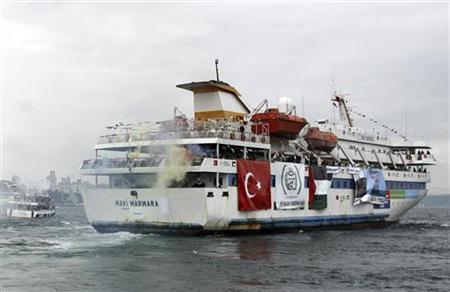 Turkish ship Mavi Marmara, carrying pro-Palestinian activists to take part of a humanitarian convoy, leaves from Sarayburnu port in Istanbul May 22, 2010. REUTERS/Emrah Dalkaya