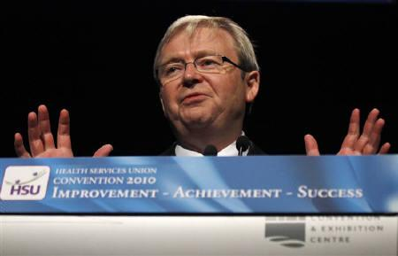Australia's Prime Minister Kevin Rudd gestures during an address to the Health Services Union annual convention in Sydney June 7, 2010. Rudd could lose elections later this year after a dramatic fall in support, two polls found on Monday, adding pressure on the government to compromise on its planned mining tax. REUTERS/Tim Wimborne