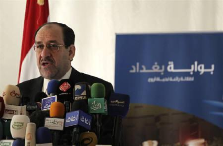 Iraq's Prime Minister Nuri Al-Maliki speaks in Baghdad May 24, 2010. About 20 of Iraq's newly minted lawmakers including al-Maliki and key ministers may not be able to take their seats due to a legal hurdle that demonstrates the growing pains of a new democracy. REUTERS/Mohammed Ameen