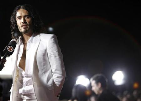 Cast member Russell Brand is interviewed at the premiere of ''Get Him to the Greek'' at the Greek theatre in Los Angeles May 25, 2010. REUTERS/Mario Anzuoni