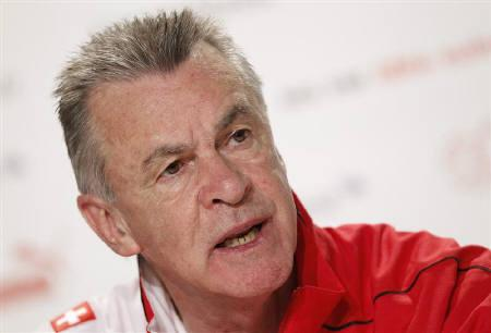 Switzerland's national soccer team coach Ottmar Hitzfeld attends a news conference in Vanderbijlpark, outside Johannesburg June 14, 2010. REUTERS/Michael Buholzer