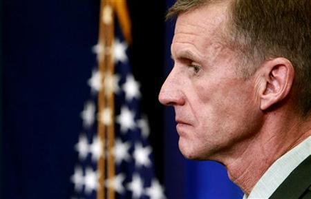 Army General Stanley McChrystal, commander of the U.S. Forces in Afghanistan, listens to a question from a reporters in the briefing room of the White House in Washington in this May 10, 2010 file photo. REUTERS/Kevin Lamarque