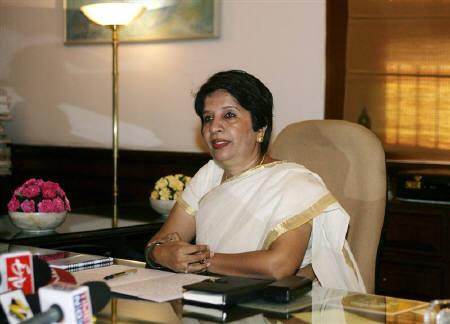 File photo of Foreign Secretary Nirupama Rao in her office in New Delhi, August 1, 2009. REUTERS/B Mathur/Files