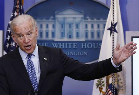 U.S. Vice President Joe Biden attends the daily press briefing at the White House in Washington, June 17, 2010. The U.S will go after foreign websites that pirate American music and movies as part of a new national strategy to stop sales of counterfeit and pirated goods, Biden said on Tuesday.  REUTERS/Jim Young/Files