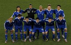 <p>Seleção argentina, antes de jogo contra a Grécia, pela Copa do Mundo, foi apontada como favorita para vencer o torneio pelo ex-jogador francês Zinedine Zidane. REUTERS/David Gray</p>
