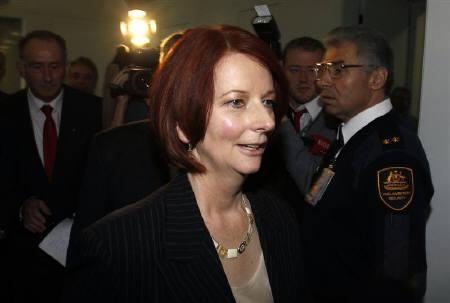 Australia's new Prime Minister Julia Gillard leaves a special Caucus meeting after a leadership ballot at Federal Parliament House in Canberra June 24, 2010. REUTERS/Mick Tsikas
