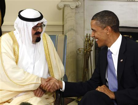 President Barack Obama (R) meets with King Abdullah of Saudi Arabia in the Oval Office of the White House in Washington June 29, 2010. REUTERS/Larry Downing