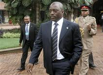 <p>Democratic Republic of Congo's President Joseph Kabila arrives for the summit on the ongoing crisis in eastern Congo in Kenya's capital Nairobi, November 7, 2008. REUTERS/Thomas Mukoya</p>