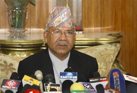 Nepal's Prime Minister Madhav Kumar addresses the nation in Kathmandu May 1, 2010. REUTERS/Deepa Shrestha/Files