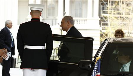 Israel's Prime Minister Benjamin Netanyahu arrives for his meeting with President Obama at the White House, July 6, 2010. REUTERS/Kevin Lamarque