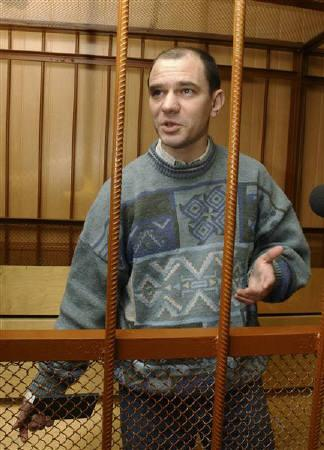 Russian nuclear weapons expert Igor Sutyagin stands in the courtroom during the session in a Moscow court in this April 7, 2004 file photo. REUTERS/Gleb Shchelkunov/Files