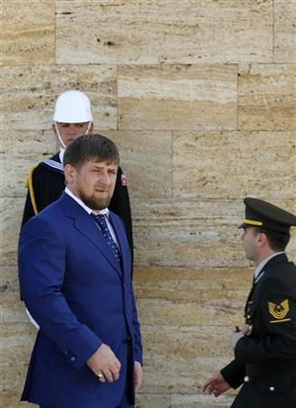 President of Chechnya Ramzan Kadyrov leaves a wreath-laying ceremony at the mausoleum of Mustafa Kemal Ataturk, the founder of modern Turkey, in Ankara May 12, 2010. REUTERS/Umit Bektas