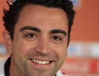 <p>O meio-campista espanhol Xavi no estádio de Loftus Versfeld em Pretória, 24 de junho de 2010. É chegada a hora de a Espanha assumir seu lugar no topo do futebol mundial ao bater a Holanda na final da Copa do Mundo, no domingo, disse Xavi. REUTERS/Marcelo del Pozo</p>