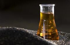 <p>A sample of rapeseed biodiesel is displayed atop rapeseeds at EcoEnergie's production plant in Etoy, near Geneva, August 13, 2008. REUTERS/Valentin Flauraud</p>