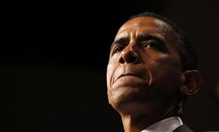 President Barack Obama speaks at a fundraiser for Senator Harry Reid in Las Vegas, Nevada July 8, 2010. REUTERS/Kevin Lamarque