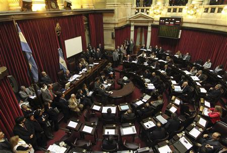 Argentine senators debate over a same-sex wedding equality bill which was approved in May by the Lower House in Buenos Aires, July 14, 2010. REUTERS/Handout-Prensa Senado