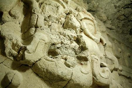 An undated handout photo shows a Mayan carving at the El Zotz archaeological site in Northern Guatemala. Archaeologists announced that they have discovered the well-preserved tomb of a king beneath a pyramid in an ancient Mayan city in northern Guatemala containing opulent offerings and the bones of six children who are thought to have been sacrificed at the time of his death. REUTERS/Handout/Minstry of Culture and Sports