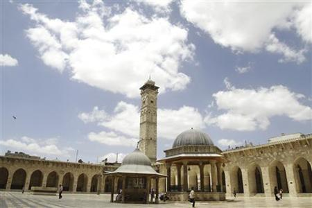 People visit the Grand Mosque of the Syrian city of Aleppo June 23, 2010. REUTERS/Khaled al-Hariri