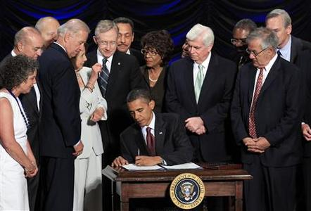 President Barack Obama signs the Dodd-Frank Wall Street Reform and Consumer Protection Act in Washington, July 21, 2010. REUTERS/Jim Young