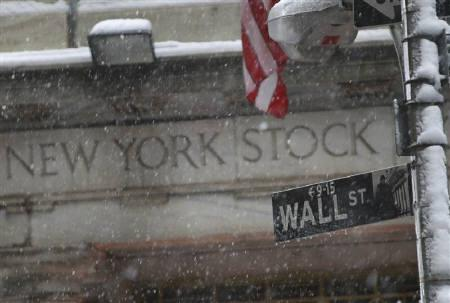 Snow falls on a Wall St. street sign in front of the New York Stock Exchange, February 25, 2010. REUTERS/Brendan McDermid/Files