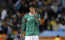 <p>Mexico's Rafael Marquez reacts after his team lost to Argentina after their 2010 World Cup second round soccer match at Soccer City stadium in Johannesburg June 27, 2010. REUTERS/Jorge Silva</p>