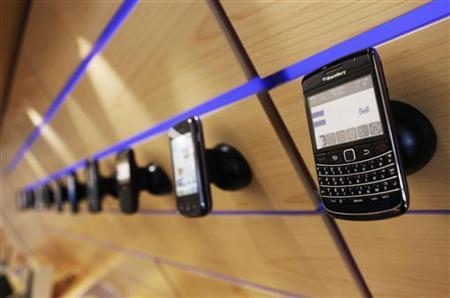 A Blackberry mobile device, made by Research in Motion (RIM), is seen on a shelf in Toronto, July 13, 2010. REUTERS/Mark Blinch
