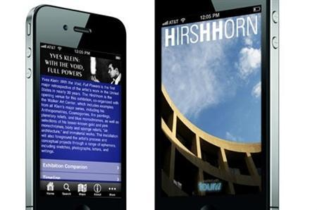 Toura's museum app for The Smithsonian Institute's Hirshhorn Museum retrospective on French artist Yves Klein is displayed on an iPhone in this undated handout photo. REUTERS/handout/Toura