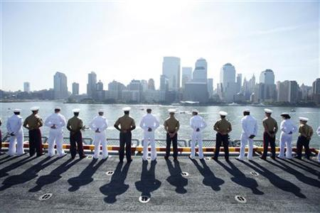 U.S. Marine Corps and Navy personnel salute at the rails of the USS Iwo Jima in New York Harbor for Fleet Week, May 26, 2010. REUTERS/Lucas Jackson